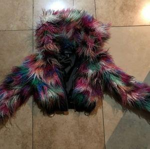Current Mood Faux Fur Winter Crop Jacket